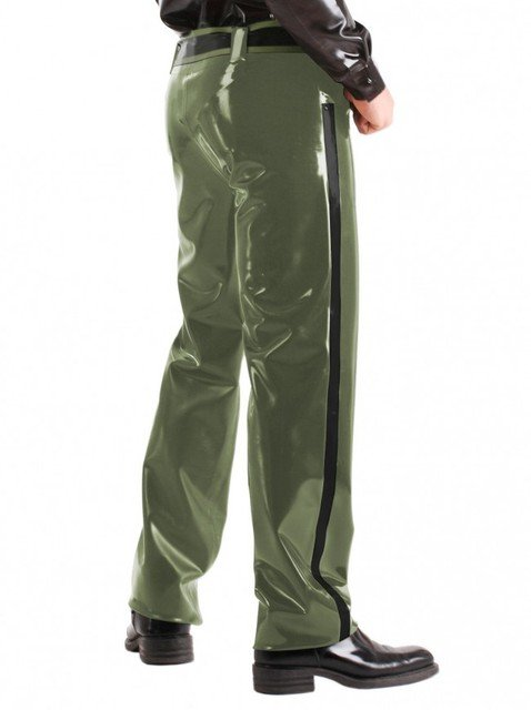 0.8MM Thickness Men's Rubber Military Trousers Latex Army Green Long Pants With Latex Belt