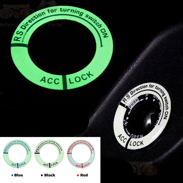 Auto Glow Key Ring Decal Hole Sticker Car Decoration Durable Motorcycle Car Styling Lumunous Ignition Switch Cover 3pcs