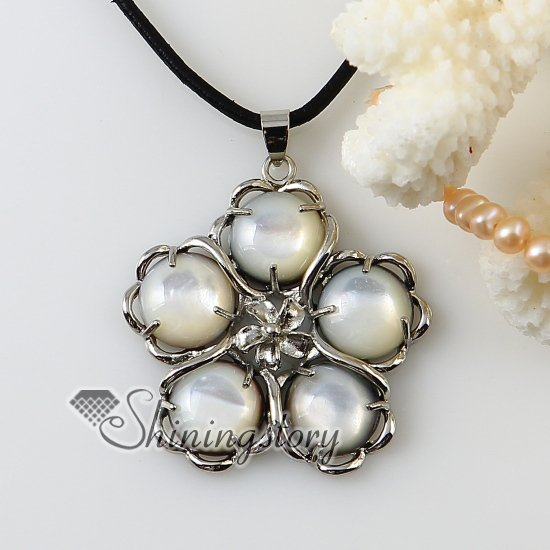 flower round white oyster shell freshwater pearl silver plated necklaces pendants 2013 handmade fashion jewelry