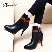 MAIERNISI New Autumn Winter Metal Decoration Buckle Round Toe Ankle Boots PU Leather High Heel Slip on Women Shoes