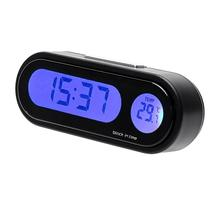 Portable 2 in 1 Car Digital LCD Clock & Temperature Display Auto Dashboard Clocks Backlight Electronic Screen Clock with Battery