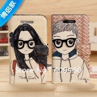 free shipping,cartoon boy and girl wearing glasses leather case ,couple style cases,case for phone4/4s