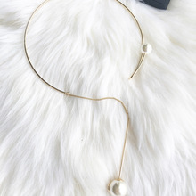 New Arrival  Women Torques Metal Round Necklace Golden Collar Necklace Necklace With imitation Pearl Necklace