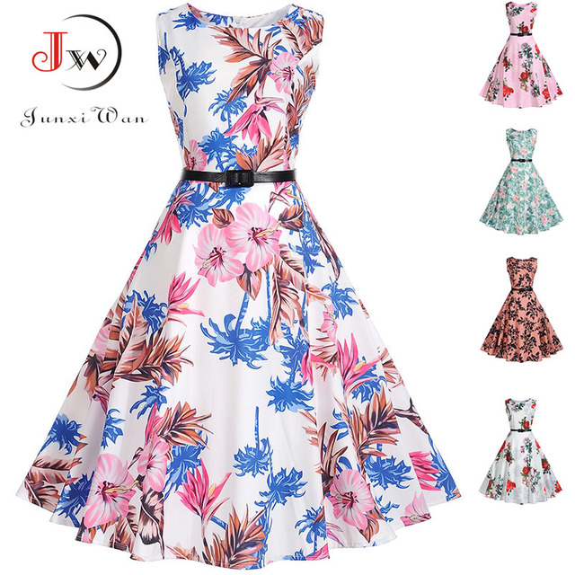 Women Audrey Hepburn Vintage Dress Retro 50s 60s Rockabilly Floral Swing  Summer Dresses Sleeveless Elegant Tunic Vestidos 7