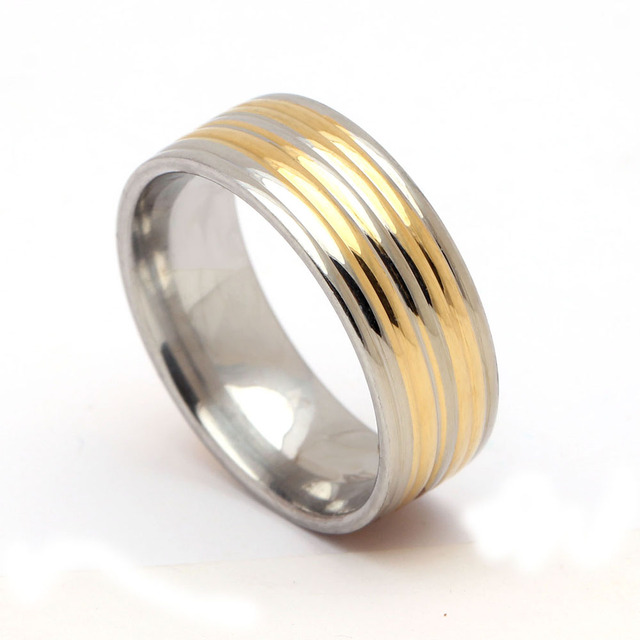 316L stainless steel ring for women/men classic simple finger rings jewelry Fashion engagement wedding gold color rings jewelry