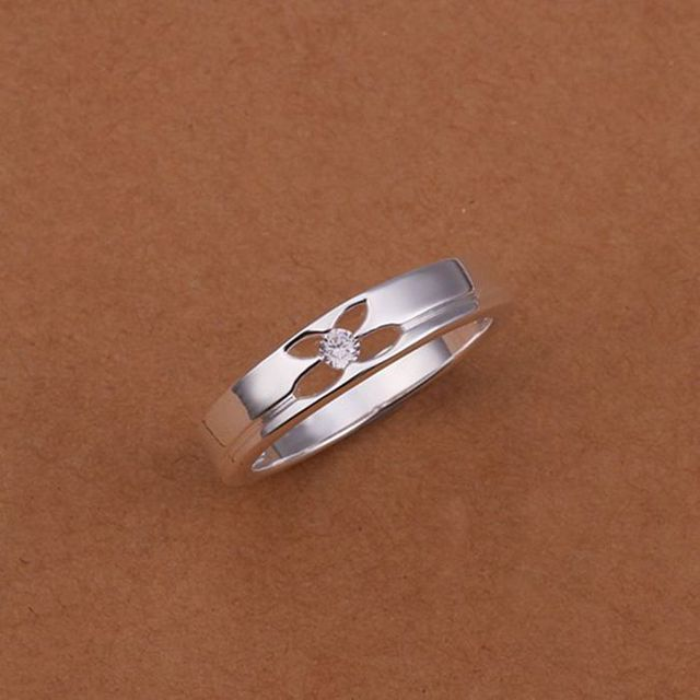 Wholesale 925 jewelry silver plated ring, 925 jewelry silver plated fashion jewelry, Empty flower inlay Solitaire Ring  SMTR244