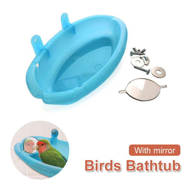 Bird Bathtub Accessories Bird Mirror Bath Durable Green Plastic Branch Stairs Outdoor Birdcage