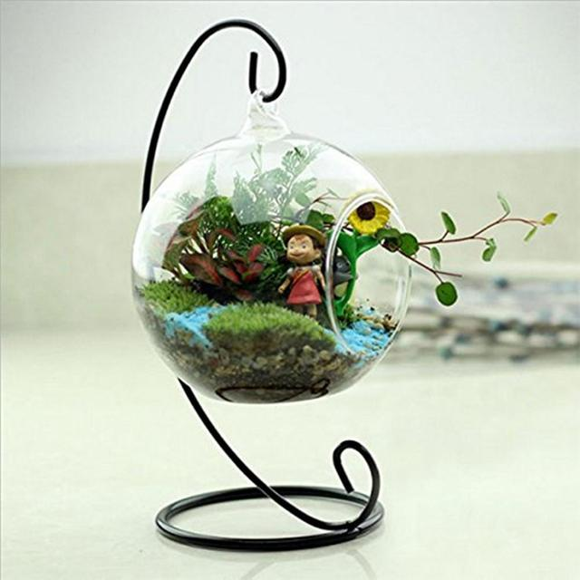 New Glass Round with 1 Hole Flower Plant Hanging Vase Home Office Wedding Decor