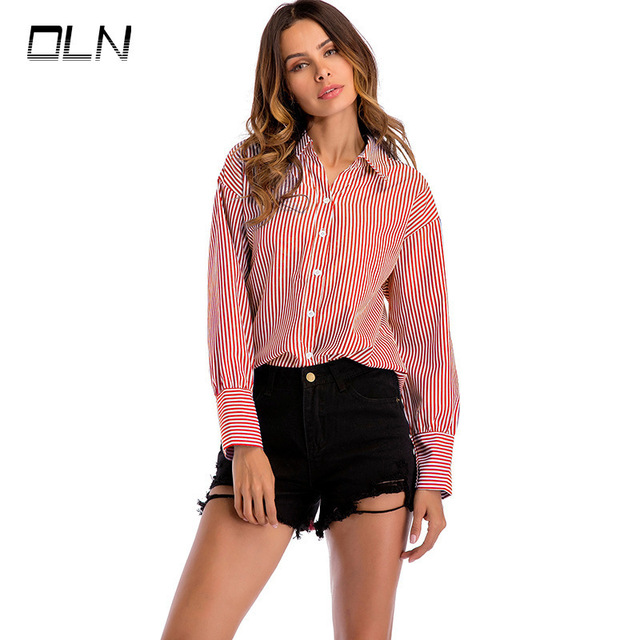Causey 2018 New Spring Autumn Womens tops and blouses Designer Striped Turn Down Collar Long Sleeve Work Shirts Women OL Tops