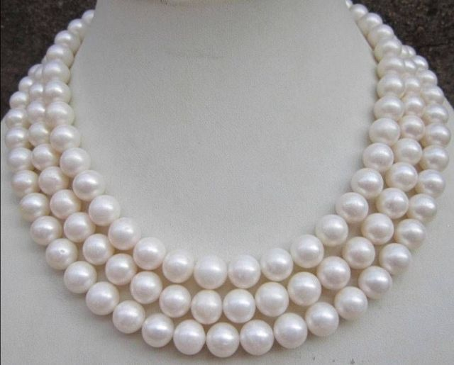 """ST3666 FREE shipping> >>>>8-9MM AAA NATURAL PERFECT ROUND SOUTH SEA WHITE PEARL NECKLACE 48"""" GE4558 6.07"""