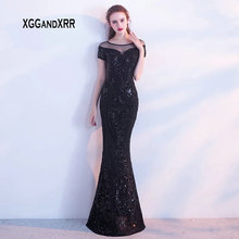 In Fashion Black Mermaid Evening Dress Red Carpet Dresses 2019 Sequins Beaded Zipper Back Celebrity Dresses Prom Party Gown