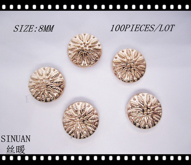 SINUAN Rivets For Bags Hot-Fix Rivets Round Spike and Stud 8Mm Gold Metal Studs For Bags Plating Bag Spike Garment Accessories