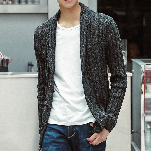 Leisure big yards of cotton knitwear youth coat of cultivate one's morality men's sweater cardigan coat