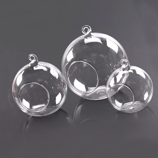 Clear Stylish Glass Round Hanging Candle Tea Light Holder Candlestick - 10CM*