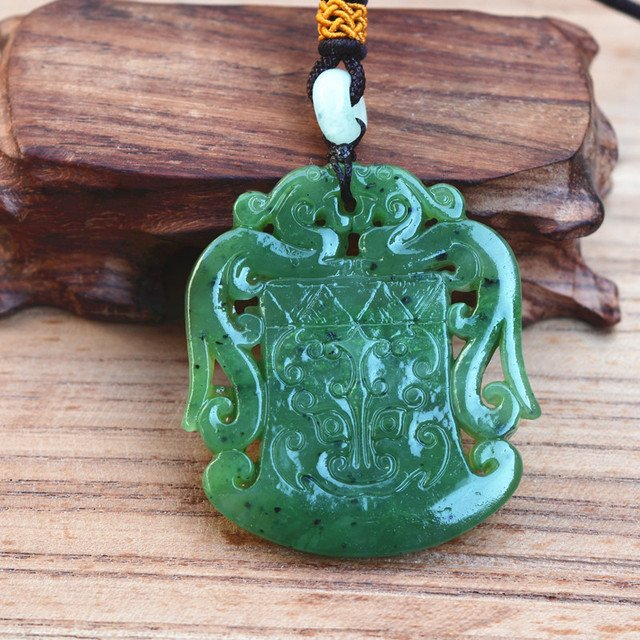 certificate)Drop shipping Natural Green HETIAN Nephrite Carved Dragon Pendant Necklace Lucky Amulet Gift For Men's Jades Jewelry