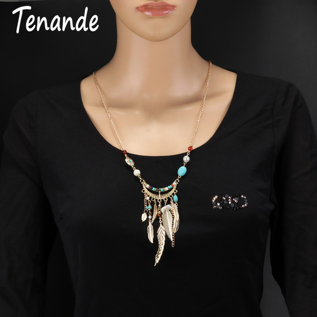 Tenande Long Maxi Bohemian Natural Stone Beads Simulated Pearl Leaves Tassel Statement Necklaces Pendants for Women Tribal Gifts