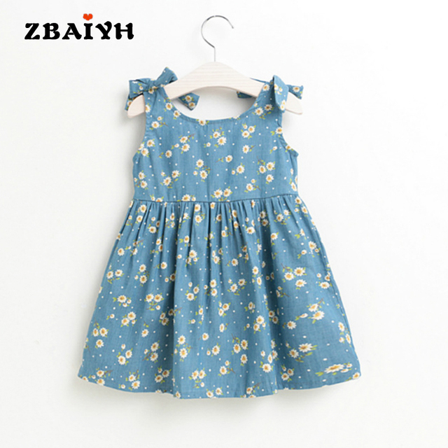 Baby Girls Denim Dress Summer Little Floral Printing Casual Bow Sleeveless Kids Clothes High Quality 2017 New Vestidos Infantil
