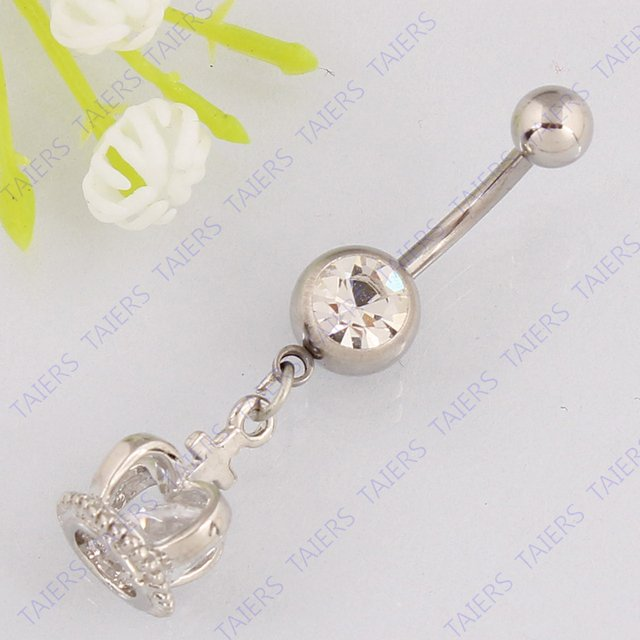 Imperial crown belly button ring fashion body piercing jewelry Retail Navel ring 14G 316L surgical steel bar Nickel-free