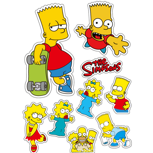 2pcs A4 Size 2018 Hot Sale Simpson Waterproof PVC Stickers Car Styling Decorative Stickers Suitcase Stickers