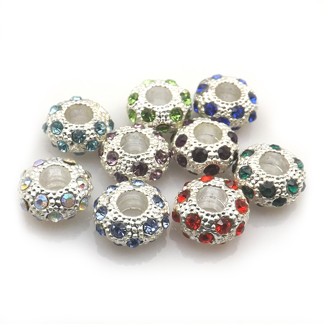 Multicolor European Crystal Beads, Big Hole Beads Fit Charm Bracelet Free Shipping (24pcs/lot)