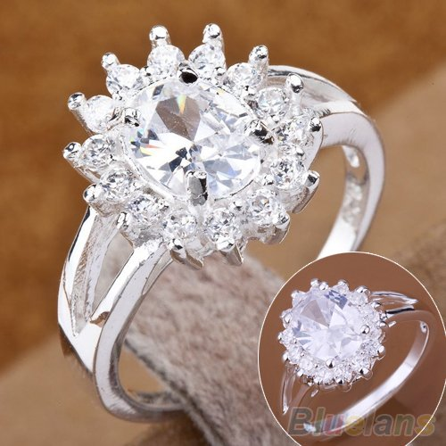 Fashion Women ring Zircon Crystal Sun Flower Silver Plated Rings Size 7,8 2IWV