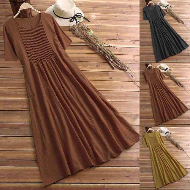 2020 Summer Women Dress Linen Pleated Solid Casual Loose Short Sleeve O-neck Vintage Loose Mid-Calf Dress Sundress L417