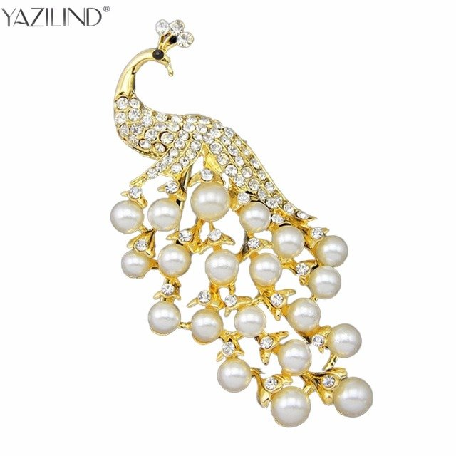 YAZILIND Clear Rhinestone Crystal and Imitation Cream Pearl large Peacock Brooch Both Silver and Gold Available