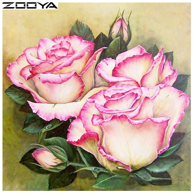 ZOOYA DIY Full Diamonds Painting Cross-Stitch Embroidery 3d Diamonds Set For Embroidery Flowers Three Roses Home Decor R235