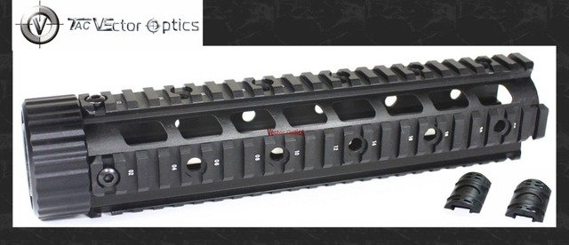 Vector Optics AR15 M4 M16 223 5.56 Free Floating Hand Guard Mid Length Quad Rail Mount System with Black Rubber Covers