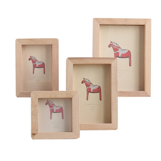 Creative Retro Wooden Photo Frame Ornament Tabletop Photo Frames Children's Picture Solid Wood Frame Crafts Home Decoration Gift