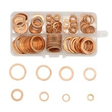 200pcs Copper Washer Gasket Set Flat Ring Seal Assortment Kit with Box M5-M14 For Hardware Accessories High Quality
