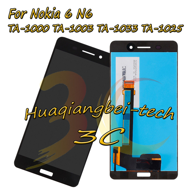 5.5'' For Nokia 6 N6 TA-1000 TA-1003 TA-1033 TA-1025 Full LCD DIsplay + Touch Screen Digitizer Assembly For Nokia 6 100% Tested