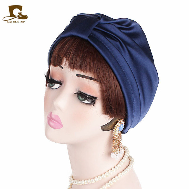 New Fashion Silky Silk Stretchy Turban Headwrap Chemo Cap for Cancer Hair loss Beanie Hijab Turbante Hair accessories for Women