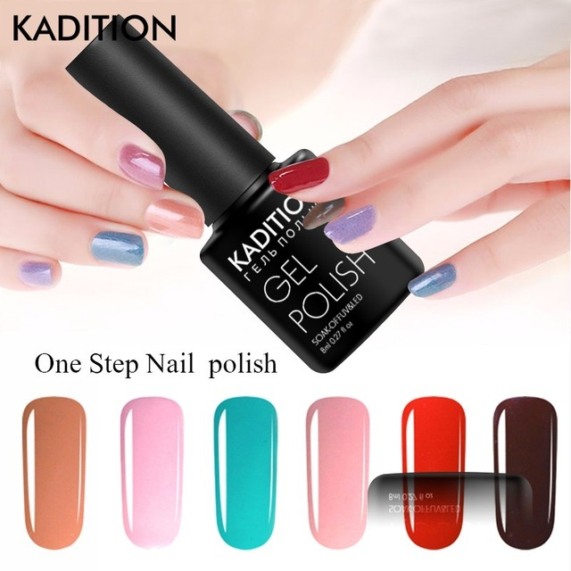 KADITION Newest One Step 3 In 1 Gel Nail Hybrid Gel Varnish Glitter Nail Gel Polish 24 Colors Easy To Use UV LED Gel Lacquer Art