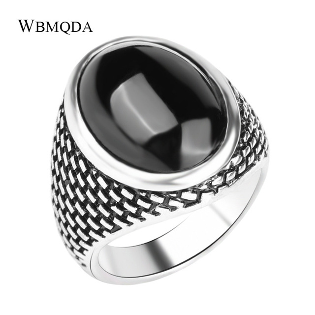 Vintage Men Ring Ethnic Textured Tibetan Jewelry Classic Fashion Silver Color Black Stone Rings For Men Free Shipping