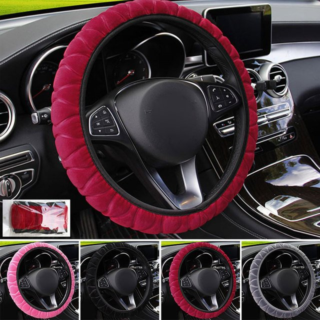 Car Steering Wheel Covers Steering Wheel Protection Car Universal Auto Decoration Cover 15 Inch Autumn and Winter Plush