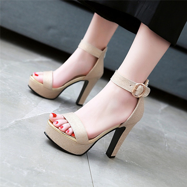 YMECHIC 2018 Summer Lady's Ankle Buckle Party Shoes Wedding Bridal Gold Silver Pink High Heels Sandals Womens Shoes Plus Size