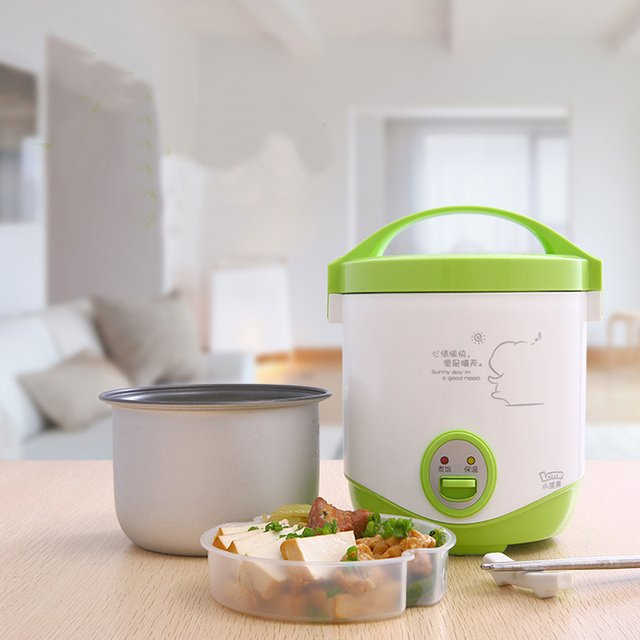 200w power 1L capacity 220V input mini rice cooker lunch box suited for 1-2 people can stew soup , heat lunch box