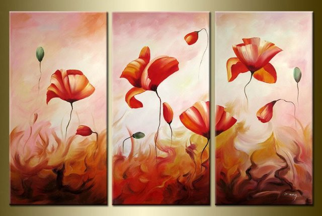 hand-painted artwork Floating pink roses landscape oil  painting on canvas 10X20inch 3pcs/set mixorde Framed