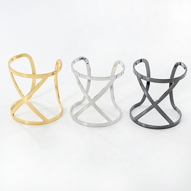 Punk Fashion Gold Silver color Piered Wide Bangle Geometry Hollow Cuff Bracelets Gifts Women Adjustable Open Bangles