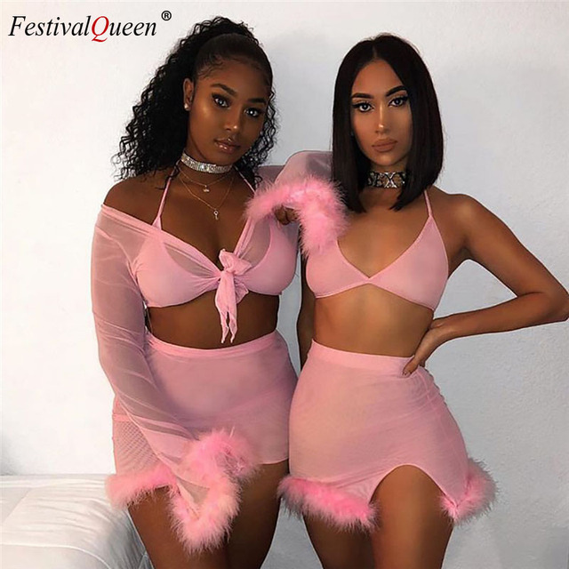 Women Neon Color Two Piece Set Crop Top and Skirt 2019 Summer Fashion Party Matching Sets Tracksuit Lady Outfit Clothes