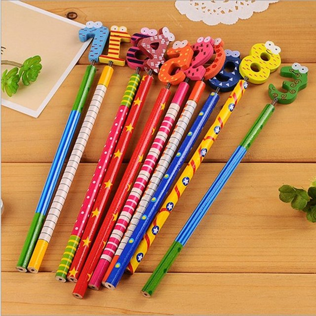 10pcs/lot from 0 to 9nmuber New Cute Number Wooden Pencils Office and Study Pencils Stationery Pencils Kids gifts