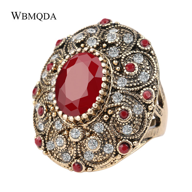 Vintage Indian Jewelry Boho Big Black Red Green Stone Ring Luxury Crystal Antique Gold Wedding Rings For Women 2020 New Arrivals