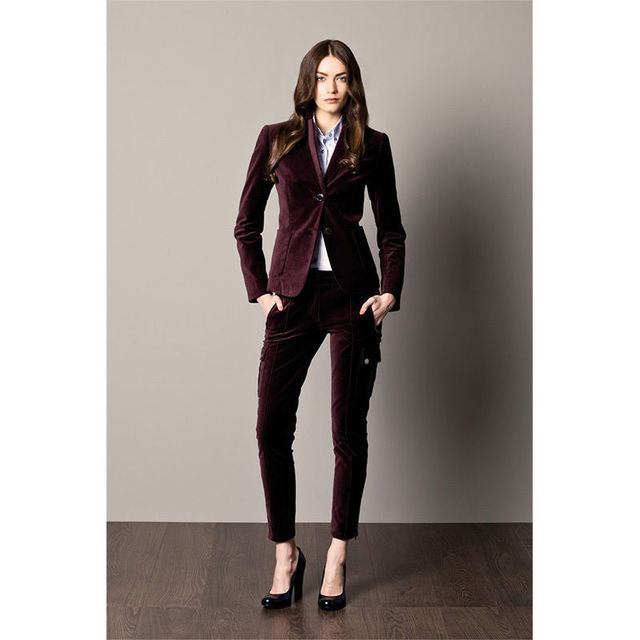Custom Made Velvet 2 Piece Women Business Suits Ladies Office Uniform Pants Suits Bespoke B208