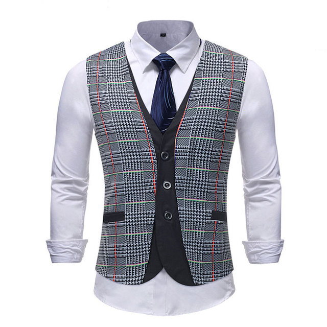 Spring Striped Men Double Breasted Wedding Suit Vests Fit Men Sleeveless Business Vests Shirts Dress Vests