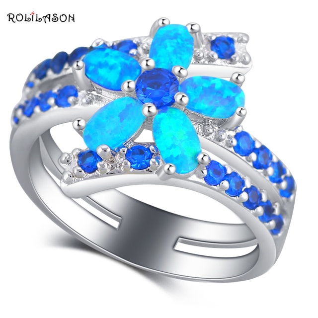 ROLILASON Delicate Flower Design Blue Fire Opal  Silver Fashion Jewelry Wedding Rings USA Size #5#6#7#8#9#10 OR879