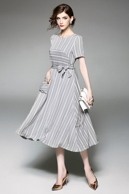 2017 Fashion Women's O-Neck High Quality Striped Green Or Gray Dress Sashes Dress Elegant Dresses