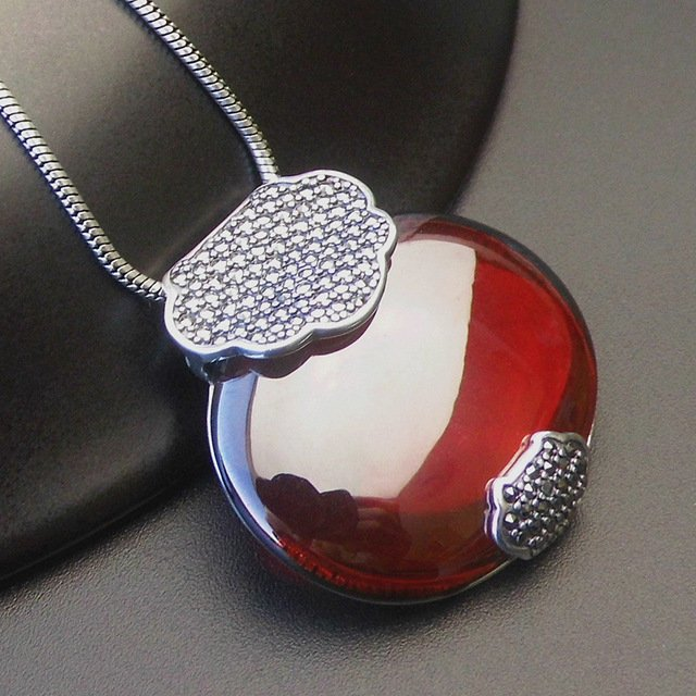 925 Sterling Silver Jewelry Silver Garnet Pendant sweater pendant exaggerated retro atmosphere