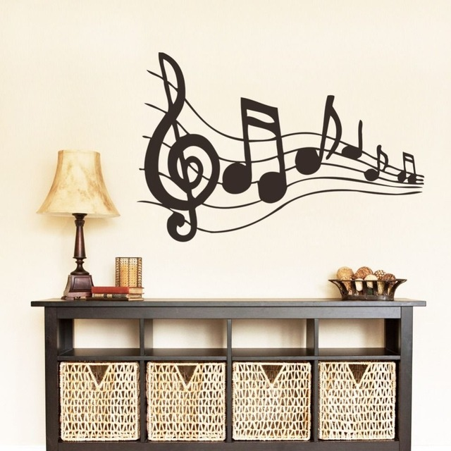 2015 Fashion Music Vinyl Wall Decal Musical Notes Music Mural Art Wall Sticker Music Room Class Room Living Room Home Decoration