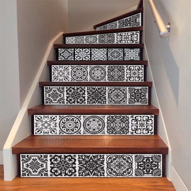 Yanqiao Creative Pattern Black and White Tiles Stair Sticker Waterproof Self Adhesive Furniture Decoration